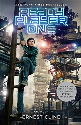The cover of Ready Player One shows a young man climbing some kind of rack in what appears to be a cyberpunk dystopia.