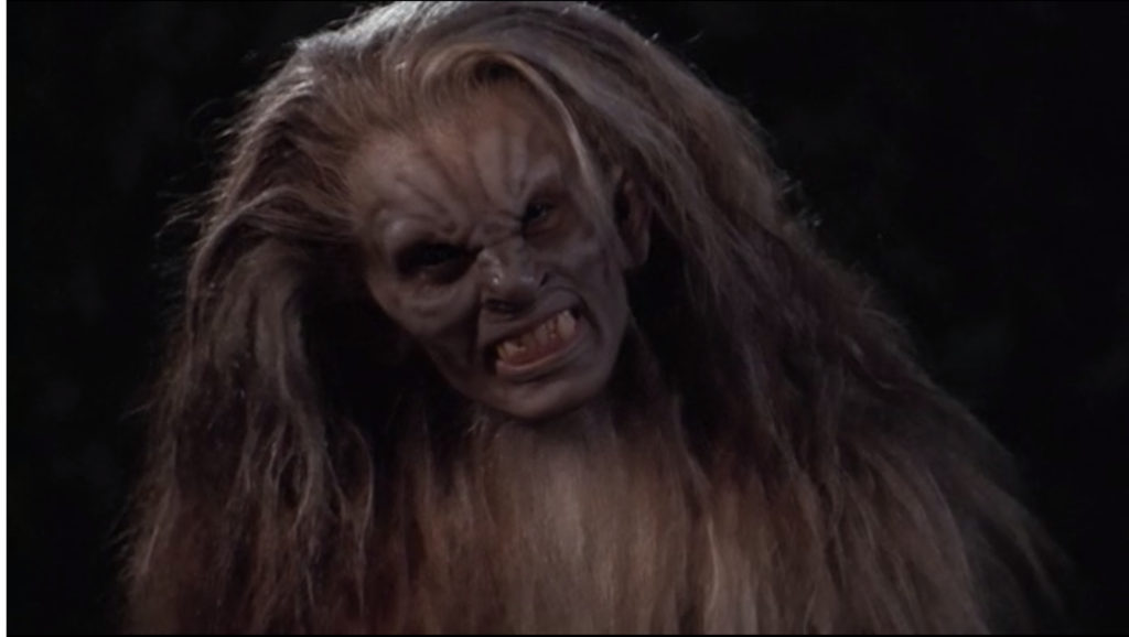 In her werewolf form, Veruca looks more like a vampire, with a wrinkly forehead and nose, but her fur is more like very long blonde hair. Yes, it looks as ridiculous as it sounds.
