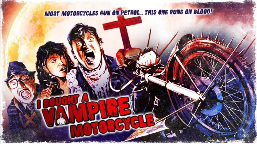 "A promotional image for I Bought A Vampire Motorcycle, featuring comic-style drawings of the cast and the demonic motorbike with the words ""most motorcycles run on petrol...the one runs on blood!"""