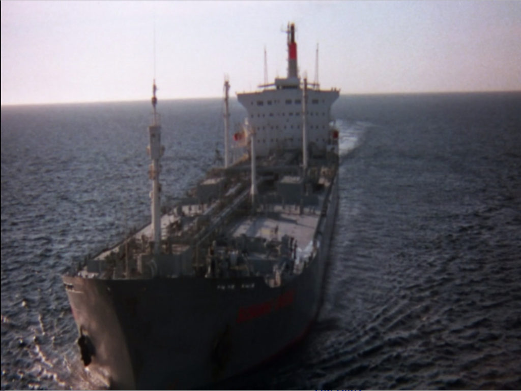 A shot of a gas carrier ship at sea