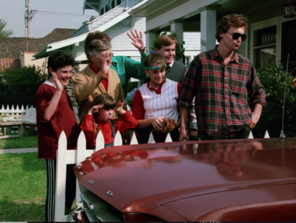 Larry's family stands beside the car waving him off. There's a boy in a red shirt and track pants, a little girl in a jumper and red shirt, the other characters already mentioned, and a dude with kind of a shaggy mullet-type hairdo and a red plaid shirt. He's wearing sunglasses and leaning back on the fence, as opposed to standing behind it with the rest of the family.