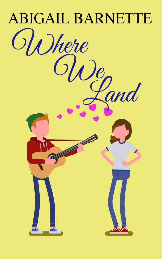"The cover of Where We Land is yellow, with ""Abigail Barnette"" above the title and a little cartoon of a ginger dude in a hoodie and stocking cap playing guitar to a brown-haired white girl in a ringer tee and jeans. Pink hearts float between them."