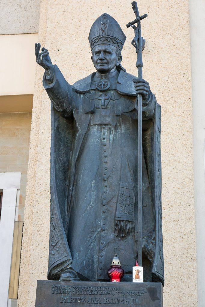 A statue of Pope John Paul II