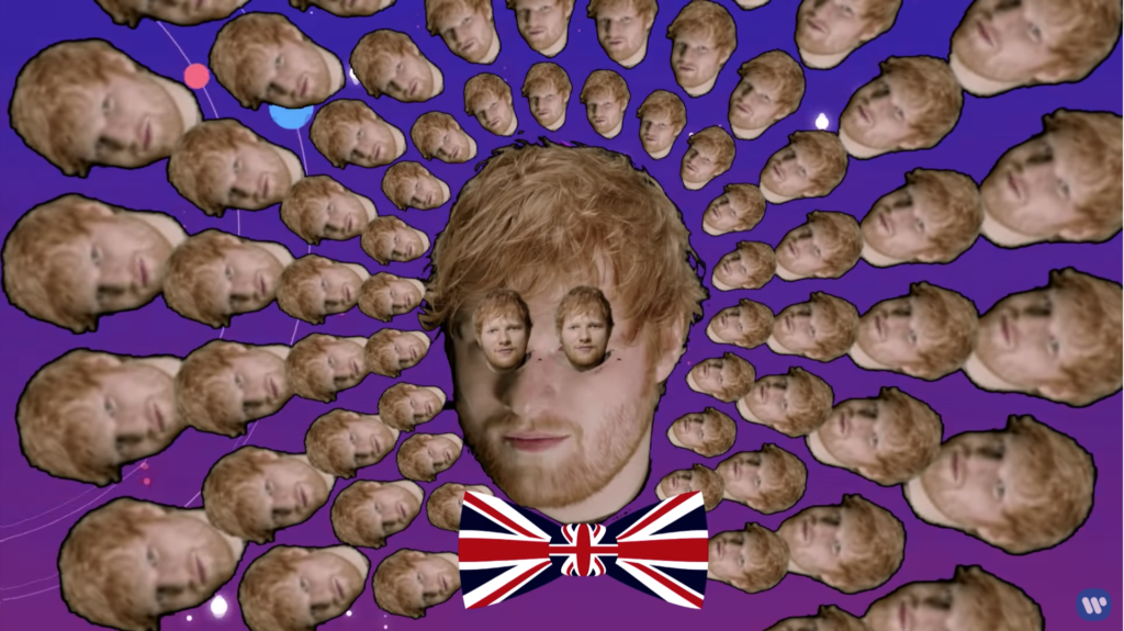 A kaleidoscope of small Sheeran heads surrounding a large, center Sheeran head with tiny Sheeran heads for eyes wearing a union jack bow tie.