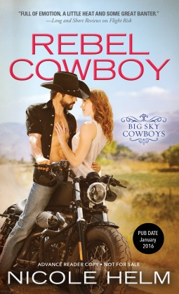 The cover of Rebel Cowboy shows a muscular guy with his shirt open and a cowboy hat on straddling a motorcycle. A beautiful woman is standing on the other side of the motorcycle as he embraces her, and unfortunately you can't see her lower body at all.