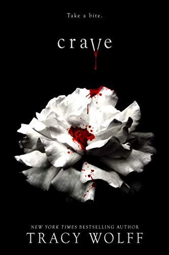 The cover of Crave features a black background with a white carnation, drops of blood on it. The title and author name are both in a very Twilight-esque font.