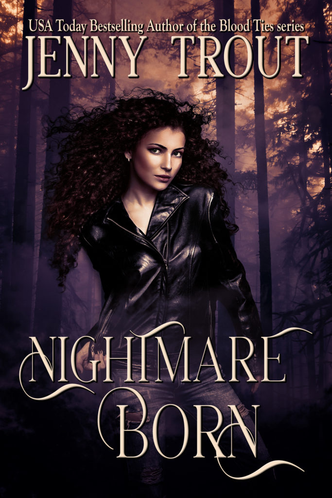 "The cover of Nightmare Born: A young white woman with curly red hair and wearing ripped jeans and a leather jacket stands in a faded-purple, mist-shrouded forest. The text reads: USA Today Bestselling Author of the Blood Ties series Jenny Trout,"" at the top and ""Nightmare Born"" at the bottom."