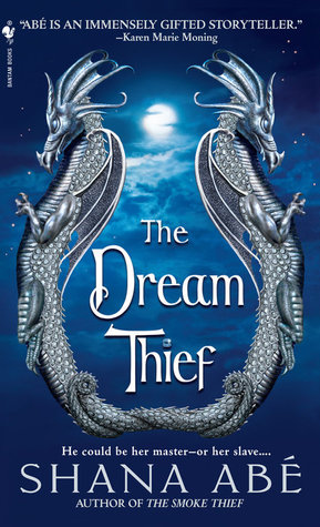 The cover of the Dream Thief by Shana Abé. Two pewter-looking dragons flank the title, joined at the tail. The background is a blue night sky with a full moon above clouds.