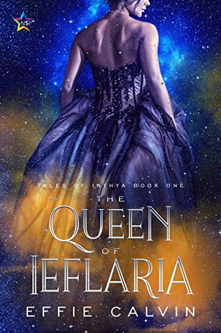 A woman with her back mostly turned, wearing a fantastical purple ball gown against a background of a blue and orange nebula. The title and author's name are at the bottom.