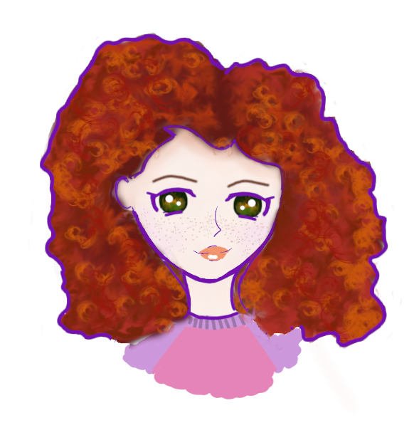I drew Iris as a cartoon character, basically head and shoulders. She has red curly hair, anime eyes, and she's wearing a purple and pink shirt. She's outlined in purple.
