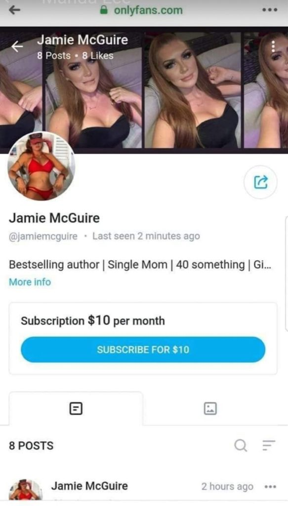 Jamie McGuire's OnlyFans page, which features a header photo collage of her in a black bustier and circa 2007 Lindsay Lohan makeup making sexy faces (including biting her lip). Her userpic is her in a skimpy red bikini and some kind of baseball hat