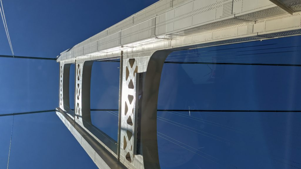 One of the towers of the Mackinac Bridge, taken from right at its base looking up